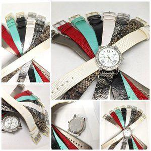 Bizou Metallic Silver Watch W/ 8 Interchangeable Straps Set